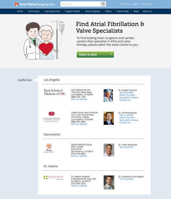 Directory of Atrial Fibrillation & Heart Valve Surgeons