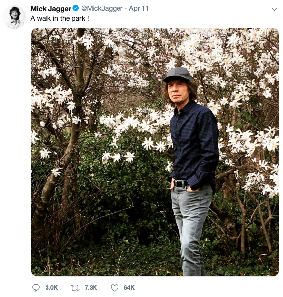 Twitter Post of Mick Jagger Walking in Central Park