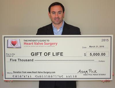 Patient & Author, Adam Pick, Donates $5,000 To Gift of Life