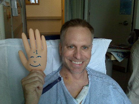 Brian, After Aortic Valve Surgery, Holding A Pain Scale Hand