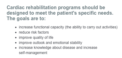 Chart About the Benefits Of Cardiac Rehabiliation Classes
