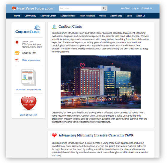 Carilion Clinic Heart Valve Microsite