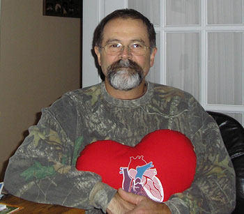 David, An Aortic Valve Replacement Patient, With A Red Pillow