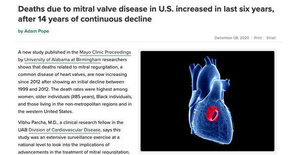 Mitral Regurgitation Death Research