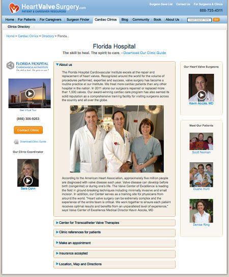 The Florida Hospital Heart Valve Clinic Microsite