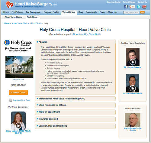 Heart Valve Surgery Microsite For Holy Cross Hospital