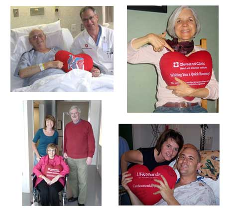 Patients Holding Big Red Pillow After Heart Surgery