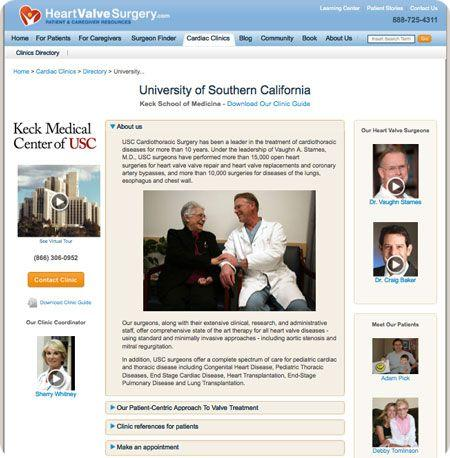 New USC Heart Valve Clinic Microsite