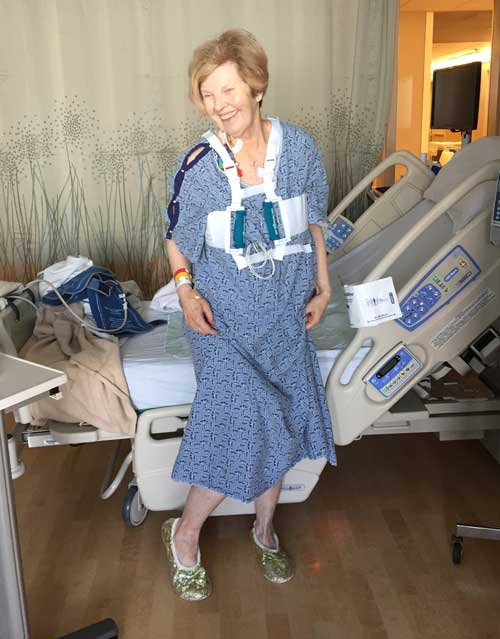 Heart Valve Surgery Patient Standing In Hospital