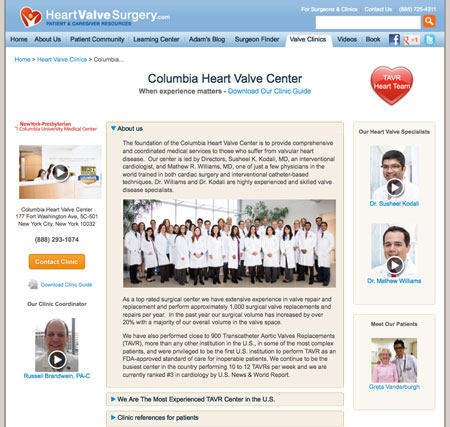 Columbia Heart Valve Center Microsite