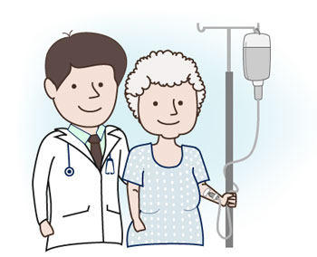 Doctor and Elderly Female Patient with IV Drip