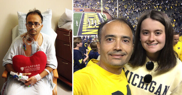 Tapan Mehta - Heart Valve Patient with Daughter at Michigan Football Game